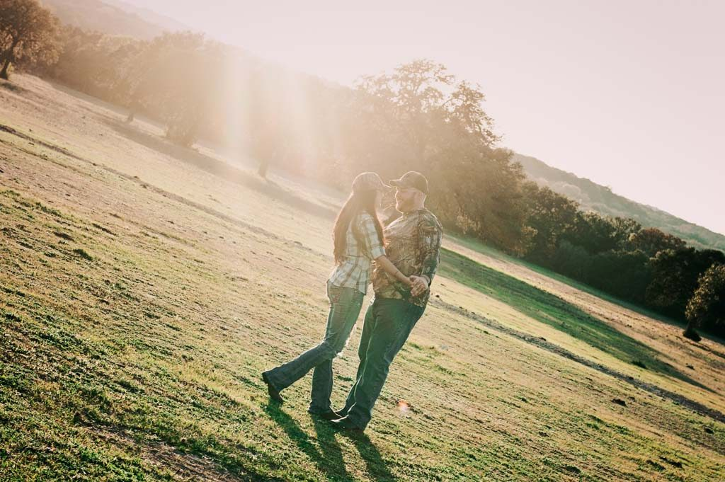 Sunset engagement session at Jahnsen Ranch in Bulverde Texas