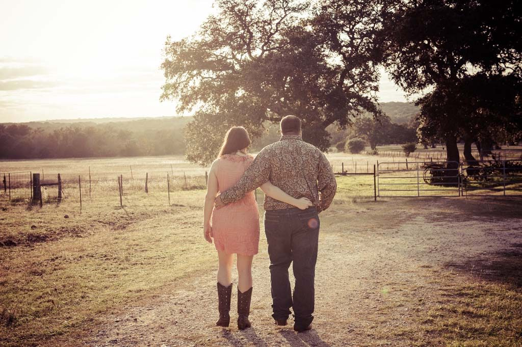 engagement session walking down path of love